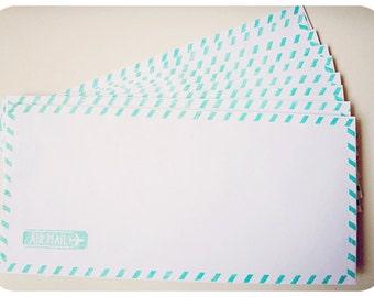 10 Air mail blue envelopes