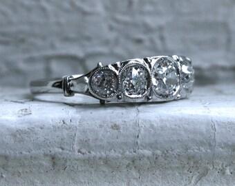 Stunning Art Deco Vintage Filigree Platinum Diamond Engagement Ring - 1.05ct.