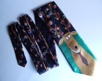 """56"""" Hallmark Yule Tie Greetings Reindeer Christmas Lights Black Necktie Neck Tie"""