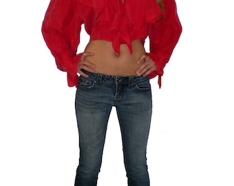 SALE Silk Crop Top with silk covered buttons by Enigma Chic