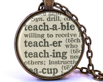 Dictionary necklace etsy teacher dictionary pendant necklace unique gift for teacher teacher gift english teacher aloadofball Image collections