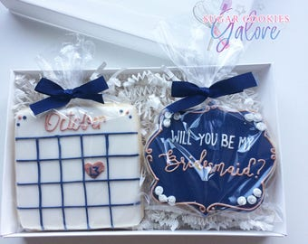 Will you be my bridesmaids cookie gift set / Maid of honor cookies / Save the date Cookies