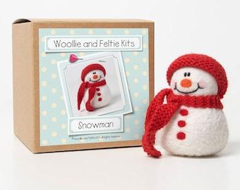 Snowman Felting Kit--Felting gift-Snowman Needle Felting Kit-Woollie and Feltie Kit,