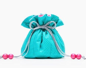 Essential Oil Case, Turquoise & Neon Hot Pink, Pink and Teal Jewelry Pouch, Bachelorette Party Gift, Wedding Hostess Gift, Gift for Roommate