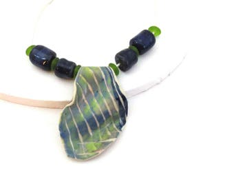 Green Blue Ceramic Necklace, Handmade Navy Pottery Beads, Green Sea Glass Beads, 2 mm Silver Leather Cord, Pendant Necklace, Art Jewelry