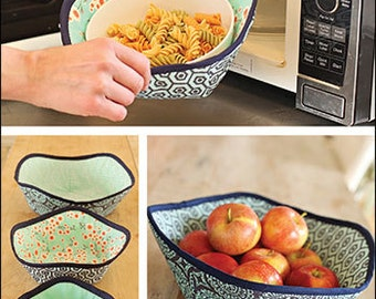 Microwave Bowl Holder PDF sewing epattern - keep hands cool with three sizes of microwave dish holders