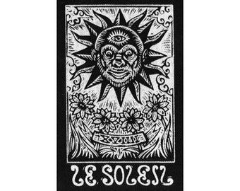 Tarot Card Sew On Patch - Sun Tarot Card - Punk Patch - Black Canvas Patch - Jacket Patch - Sew On Patch - Hippie Patch - Gifts for Teens