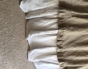 Custom Ruffled Bed Skirt Linen Dust Ruffle Extra Long Bed Skirt Linen Bedding French Country Farmhouse Bedding