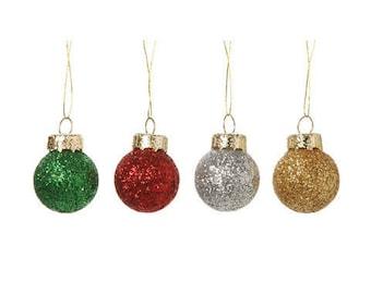 Miniature - Glitter Ball Ornament - Multi Colored - 20mm - 8 pieces