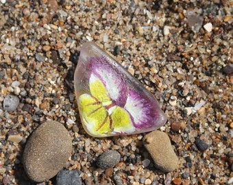Floral Sea Glass Brooch Yellow and Purple