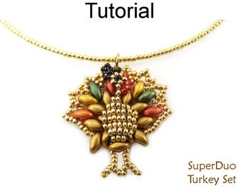 New SuperDuo Beading Pattern - Beaded Turkey Thanksgiving Tutorial - Earrings Necklace - Simple Bead Patterns - SuperDuo Turkey Set #27399