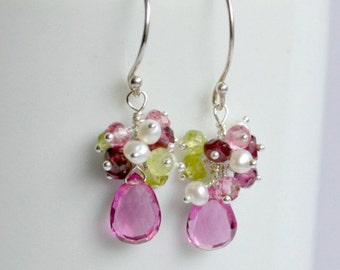 Pink quartz earrings, pink cluster earrings, delicate earrings, silver wire wrapped earrings, Valentine's day gift