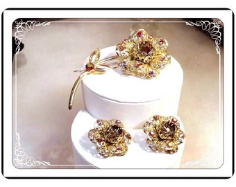 Sarah CoventryDemi -  Filigree Flower Power in Red Aurora Borealis with Earrings - Demi Parure Set   -   Demi-1300a-051713000