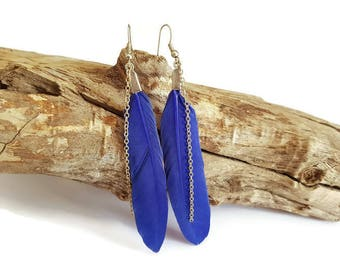 Electric blue feather earrings and chain