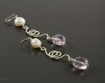 Freshwater Pearl and Ametrine Drop Earrings, Mother's Day Gift, Pearl Earrings, Ametrine Earrings, Affordable Bridal Jewelry