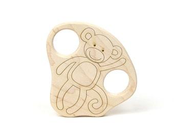 Safari Baby Shower - Monkey Baby Teether - Jungle Baby Shower - Wooden Teether