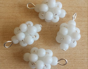 4 beads 4mm frosted white glass pendants
