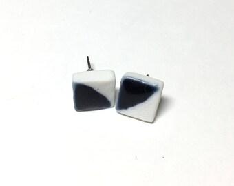 Navy Square Porcelain Earrings