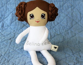 Fabric Leia doll, personalised doll, rag doll, custom made doll, CE marked doll, Bespoke Princess doll, Plaited buns, comic con doll.
