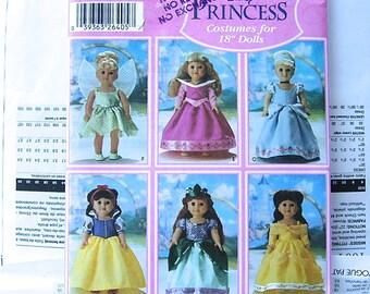 "Sewing Pattern DISNEY PRINCESS Costumes 18"" doll Uncut - Belle, Ariel, Snow White, Cinderella, Sleeping Beauty, Tiinker-belle Simplicity"