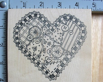 Peddlers Pack LG Crazy Quilt Heart with Buttons DESTASH Rubber Stamp, Used Rubberstamp
