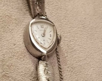 HAMILTON Ladies Wristwatch,  Hamilton Windup Watch, Unique Face, Silver, Etched Band, Silver Ladies Watch, Windup Watch, Mechanical