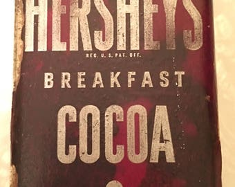 Vintage Hershey Cocoa Tin 1 Pound paper label
