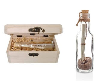 1st First Paper Wedding Anniversary Gift - Personalised Message in a Bottle with Treasure Chest
