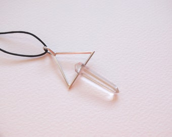 SILVER TRIANGLE PENDANT w Double Terminated Quartz Point · Triangle Jewelry · Mineral Jewelry