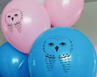 10 Pink and Blue Owl Balloons, Harry Potter-Themed Baby Shower, Gender Reveal Party, Witch or Wizard decorations, Harry or Hermione, DIY