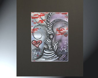 Swirly Tree Painting Original Artwork Size Black Matted to 16 x 20 Swirly Tree Hearts