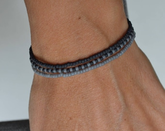 Black and Gray Multi-Wrap Bracelet, Glass Seed Bead Necklace, Anklet, Stretch Elastic Cord, Layer Stackable 3-Wrap Bracelet