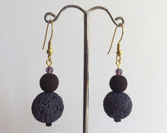 Dangle earrings purple and plum lava