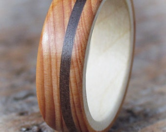 Wooden Wedding Rings from Yew, Sycamore and Walnut