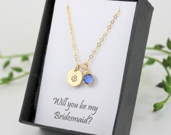 Bridesmaid Gift, Initial Necklace, Personalized Bridesmaid Jewelry, Bridesmaid Necklace, Birthstone, Bridal Party Jewelry, Wedding Jewelry,