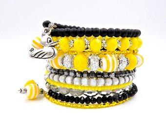 Memory wire bracelet, rubber ducky bracelet, yellow and black bracelet, beaded bracelet, wrap bracelet, stacked bracelet, cuff bracelet