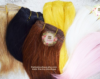 Wefted Mohair Straight Doll Hair Blythe BJD Monster Ever After High My Little Pony Waldorf Natural Angora Brown Pink reroot wig Repaint ooak