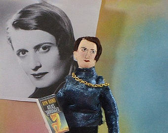 Ayn Rand Writer Doll Miniature Art Author Unique Literature Collectible
