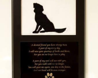 Dog Memorial Picture Frame, Dog Photo Frame, Dog Picture Frame, Dog Commemoration Picture Frame, Dog Poem Picture Frame, Remembering a dog