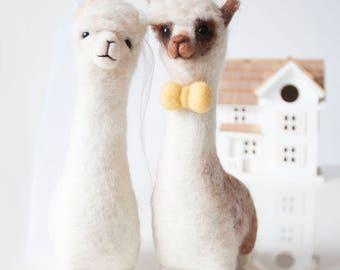 Alpaca needle felted wedding cake toppers large