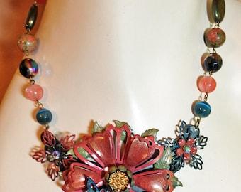 Vintage Enamel Flower Necklace - Statement Necklace - OOAK Necklace - Pink, Blue