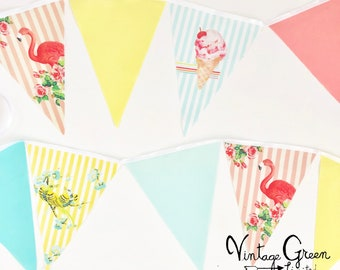 Summer Stripe Vintage Banner, Bunting, Flags, Flamingo, Vintage Birds, Ice Cream Cones, Baby Shower, Birthday Party, Kids Cake Smash, Fabric