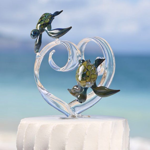 Custom Glass Heart Wedding Cake Topper with Two Turtles