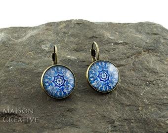 XL Earrings Bronze Oriental mosaic pattern