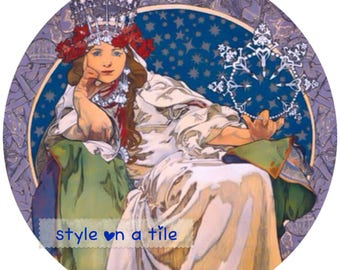 "Lovely Art Nouveau Alphonse Mucha Princess Hyacinth Lady design 23cm or 9"" round placemat table mat server centrepiece"