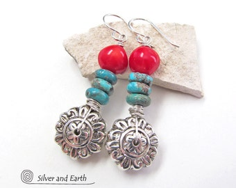 Silver Flower Earrings, Turquoise Earrings, Red Coral Earrings, Nature Gift for Her, Spring Jewelry, Colorful Earrings, Flower Jewelry