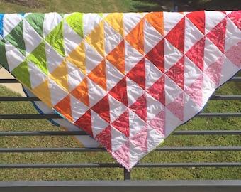 Rainbow Quilt, Baby Blanket, Gender Neutral Quilt, Triangle Quilt, Neutral Baby Blanket, Baby Shower Gift, Baby Quilt, Baby Girl, Baby Boy