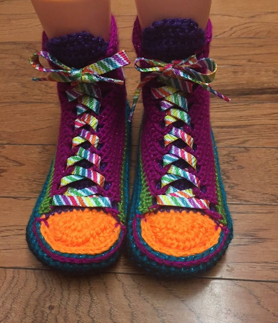Crocheted converse 9 rainbow sneaker rainbow slippers top slippers high List slippers shoe 7 Womens converse tennis crocheted 213 converse PaPqrf