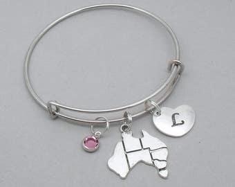 Australia map charm bracelet with engraved heart initial | personalised Australia bracelet | Australia jewelry | Australia gift | Oz