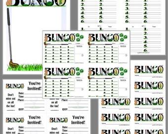Glorious Golf Bunco Printable Set, Bunco Score Cards & Tally Sheet, Instant Download, Editable Bunco Invites